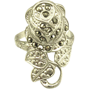 Romantic Vintage Signed Sterling Rose Ring with Marcasite- Size 7 1/2