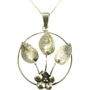 Lovely Signed Sterling Floral Pendant with Chain