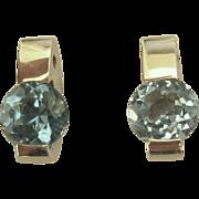 14K White Gold Blue Topaz Pierced Earrings