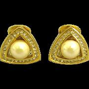 Lovely Christian Dior Faux Pearl Rhinestone Earrings