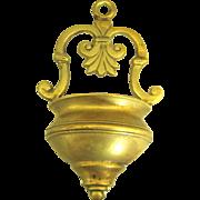 Vintage Cast Brass Holy Water Font