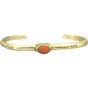 Vintage Navajo Sterling Coral Cuff Bracelet
