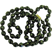 Vintage Black Czech Faceted Bead Necklace- 25 Inches
