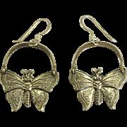Pretty Vintage Sterling Butterfly Pierced Earrings