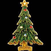 Vintage Signed Eisenberg Ice Enamel Rhinestone Christmas Tree Brooch