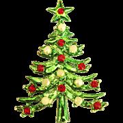 Vintage Shiny Green Enamel MYLU Christmas Tree Pin