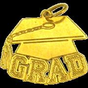 "Vintage 14K Yellow Gold Graduation ""Grad"" Charm"