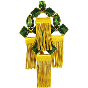 Vintage Signed Alice Caviness Emerald Green Glass Brooch with Chain Fringe