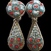 Vintage Signed Italian Micro Mosaic Dangle Earrings