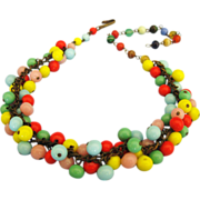 "Colorful Vintage ""Cha Cha"" Style Glass Bead Necklace"