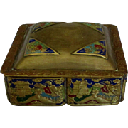 Early 1900's Chinese Brass Champleve Scenic Box with Serpents