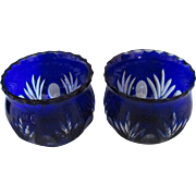 Two Vintage Bohemian Cobalt Blue Cut to Clear Crystal Bowl Set
