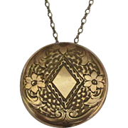 Large Art Nouveau Gold Fill Talle d'Epargne Round Locket with Chain