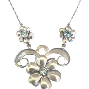 Feminine Vintage Signed BB Sterling Flower Necklace with Blue Topaz