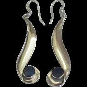 Vintage Long Dangle Sterling Lapis Pierced Earrings