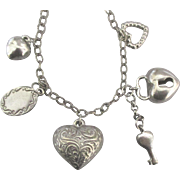 Vintage Romantic Sterling Hearts Charm Necklace