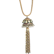 Gorgeous Moghul Faux Pearl Pendant with Tassel