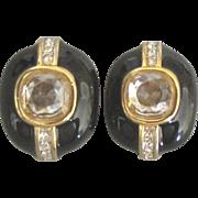 Sophisticated Signed Nina Ricci Vintage Black Enamel Rhinestone Earrings