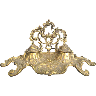 """Large Late 1800""""s Ornate English Cast Brass Double Ink Well"""