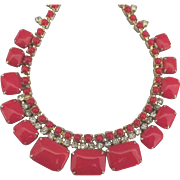 Vintage Bright Red Glass Sparkling Rhinestone Necklace