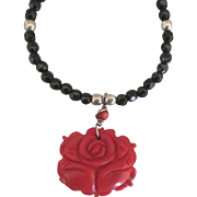 Carved Red Coral Rose with Onyx Sterling and Bead Necklace