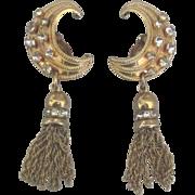 Fabulous Signed Karu Rhinestone Moon Tassel Dangle Earrings