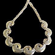 Vintage Signed Schiaparelli Rhinestone Gold Tone Necklace