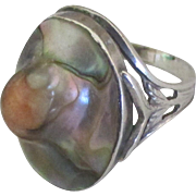 Beautiful Vintage Peaked Abalone Sterling Ring- Size 6