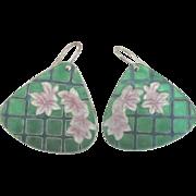 Lovely Enamel Cherry Blossom Cloisonne Pierced Earrings
