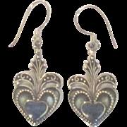 Ornate Sterling Lapis Heart Pierced Earrings