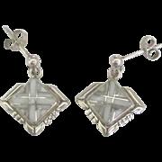 Signed Vintage Zuni Inlaid MOP Sterling Pierced Earrings