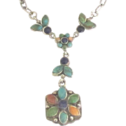 Vintage Sterling Turquoise Lapis Flower Necklace
