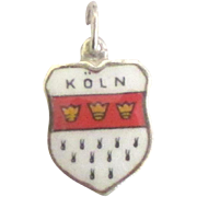 Vintage Enamel 800 Silver Cologne (Koln) Germany Travel Shield Charm