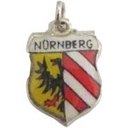 Vintage Nuremberg (Nurnberg) Germany Enamel Sterling Travel Shield Charm