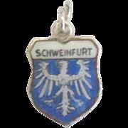 Vintage Schweinfurt Germany Enamel 800 Silver Travel Shield Charm