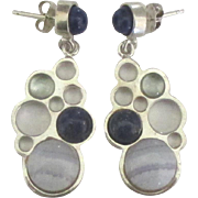 Lovely Sterling Lapis Aquamarine Agate Pierced Earrings