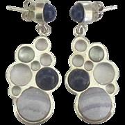 Lovely Sterling Lapis Aquamarine Agate Pierced Earrings