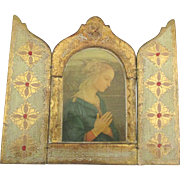Lovely Vintage Italian Gesso Wooden St. Mary Triptych