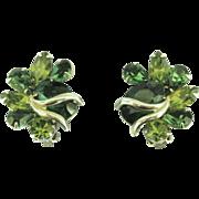 Large Vintage Weiss Emerald & Peridot Green Rhinestone Earrings