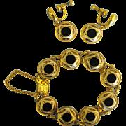 Lovely Spanish Damascene Bracelet & Earrings- Demi Parure