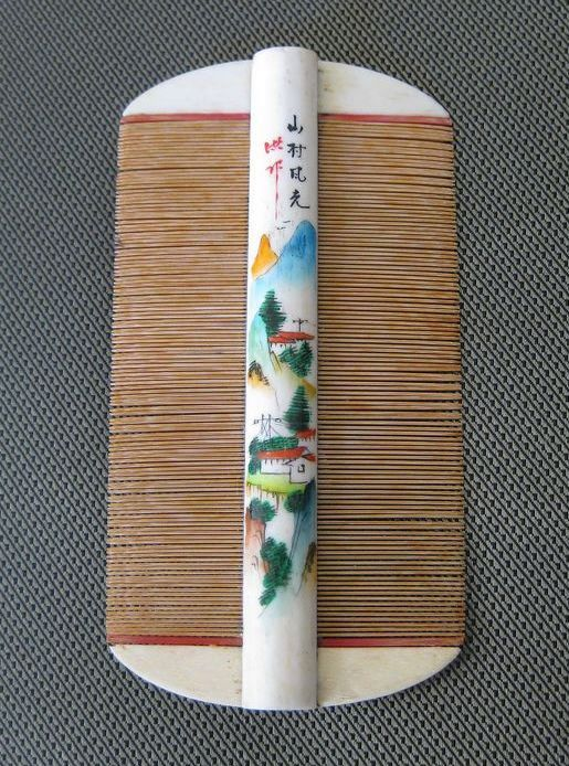 Vintage Asian Hand Painted Bone Comb