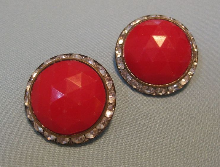Vintage Large Button Clip Earrings, Red Faceted Center Rhinestone Border