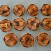 SOLD Vintage Wood and Bamboo Large Buttons, New Old Stock, Set of 11
