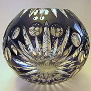 SOLD Vintage Bohemian Crystal Black Cherry Cut To Clear Bowl - Red Tag Sale Item