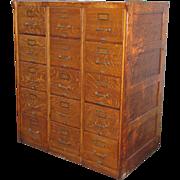 SOLD Triple Oak File Cabinet