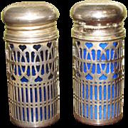 Cobalt & Silver Salt & Pepper Shakers