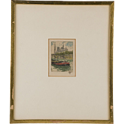 19th C. Colored Etching of Boat on Seine; Hans Figura