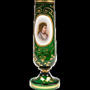 19th C. Bohemian Green Glass Portrait Vase