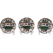 Asian Porcelain Set of Three Saucers, Hand Painted