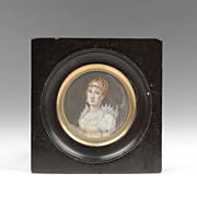 SOLD 19th C. Miniature Watercolor Portrait Of Marie Louise Bonaparte